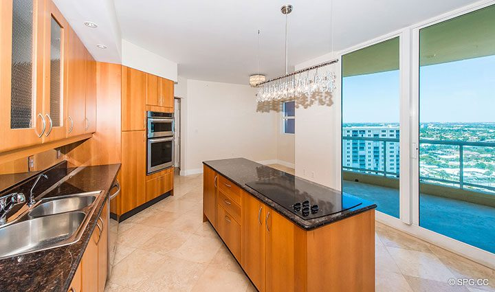 Kitchen with Terrace Access in Residence 19A/D, Tower II at The Palms, Luxury Oceanfront Condominiums Fort Lauderdale, Florida 33305