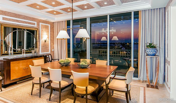 Dining Room inside Residence 406 at Bellaria, Luxury Oceanfront Condominiums in Palm Beach, Florida 33480.