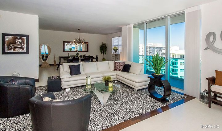 Superb Great Room in Penthouse 10 at Sian Ocean Residences, Luxury Oceanfront Condominiums Hollywood Beach, Florida 33019