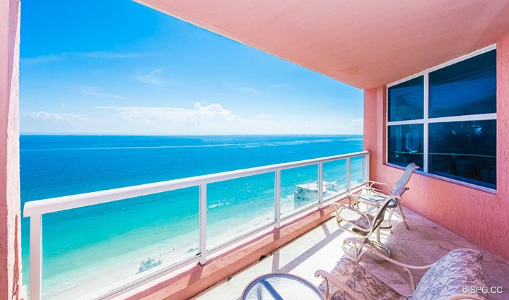 Oceanfront Terrace at Residence 18B, Tower I at The Palms, Luxury Oceanfront Condominiums Fort Lauderdale, Florida 33305