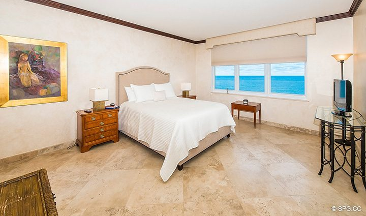 Bedroom with Ocean Views in Residence 12A, Tower I at The Palms, Luxury Oceanfront Condominiums Fort Lauderdale, Florida 33305
