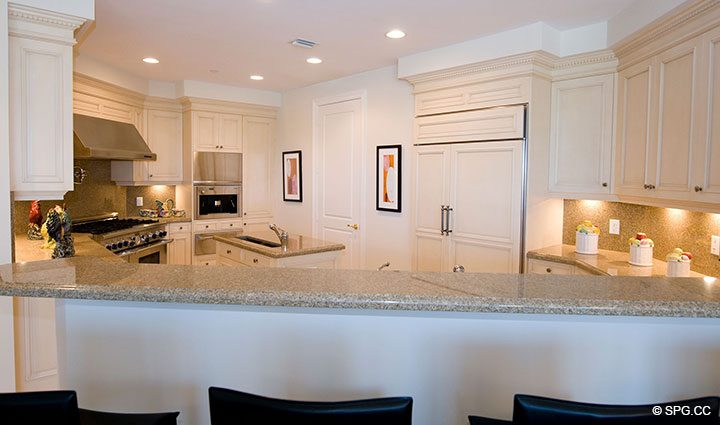 Kitchen Counter Bar in Residence 304 at Bellaria, Luxury Oceanfront Condominiums in Palm Beach, Florida 33480.
