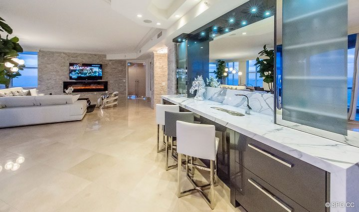 Custom Built-In Bar inside Penthouse Residence 26A, Tower I at The Palms, Luxury Oceanfront Condos in Fort Lauderdale, Florida 33305.