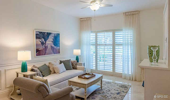 Family Room inside Residence 204 at Bellaria, Luxury Oceanfront Condominiums in Palm Beach, Florida 33480.