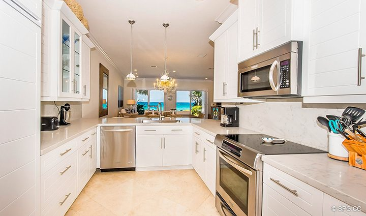 Gourmet Kitchen inside Residence 3A at 1153 Hillsboro Mile, a Luxury Oceanfront Townhome For Rent in Hillsboro Beach, Florida 33062