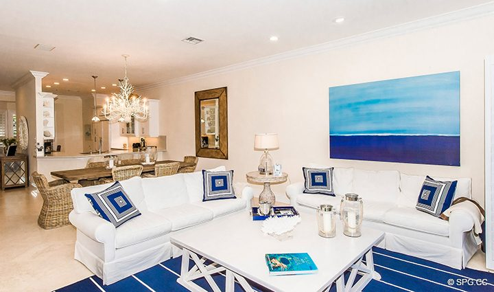 Living Room inside Residence 3A at 1153 Hillsboro Mile, a Luxury Oceanfront Townhome For Rent in Hillsboro Beach, Florida 33062