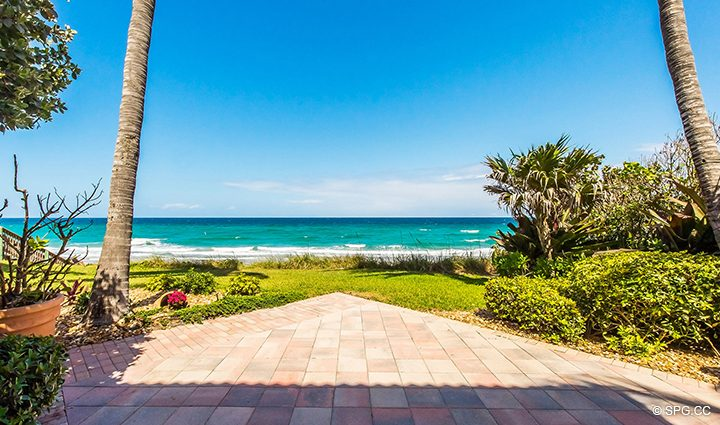 Beachfront Garden Patio for Residence 3A at 1153 Hillsboro Mile, a Luxury Oceanfront Townhome For Rent in Hillsboro Beach, Florida 33062
