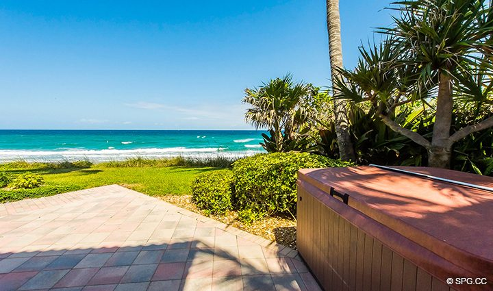 Garden Patio Hot Tub for Residence 3A at 1153 Hillsboro Mile, a Luxury Oceanfront Townhome For Rent in Hillsboro Beach, Florida 33062