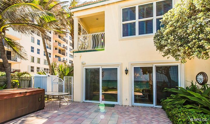 Private Garden Patio Area for Residence 3A at 1153 Hillsboro Mile, a Luxury Oceanfront Townhome For Rent in Hillsboro Beach, Florida 33062