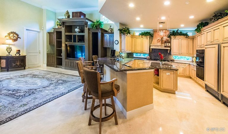 Kitchen and Family Room in Luxury Estate Home, 16260 Bridlewood Circle, Delray Beach, Florida 33445