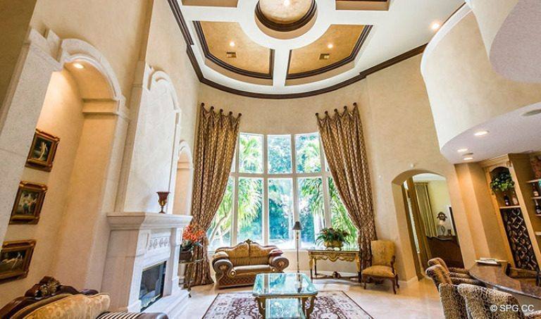 Living Room inside Luxury Estate Home, 16260 Bridlewood Circle, Delray Beach, Florida 33445