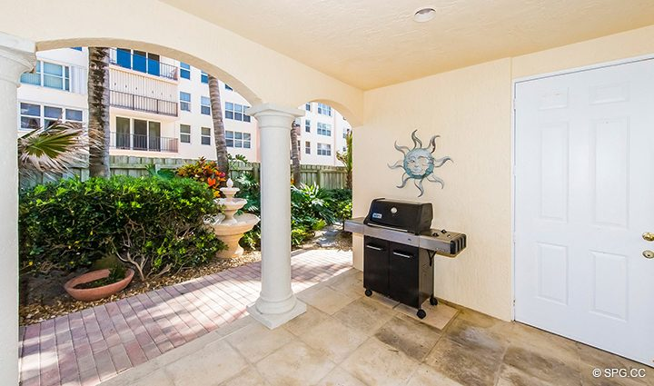 Private Covered Outside Area for Residence 3A at 1153 Hillsboro Mile, a Luxury Oceanfront Townhome For Rent in Hillsboro Beach, Florida 33062