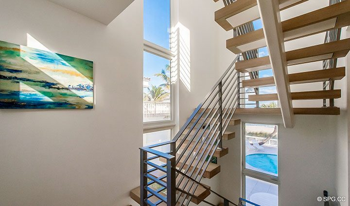 Staircase inside Luxury Oceanfront Home, 2712 North Atlantic Boulevard, Fort Lauderdale, Florida 33308