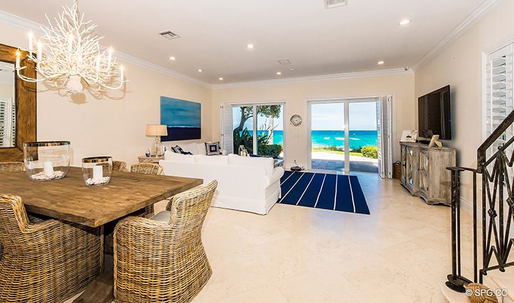 Spacious Great Room inside Residence 3A at 1153 Hillsboro Mile, a Luxury Oceanfront Townhome For Rent in Hillsboro Beach, Florida 33062