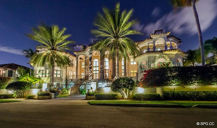 Night View of Estate Home 709 Idlewyld Drive, Fort Lauderdale, Florida 33301