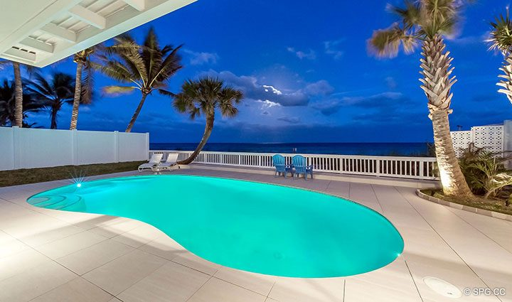 Night Pool Deck at Luxury Oceanfront Home, 2712 North Atlantic Boulevard, Fort Lauderdale, Florida 33308