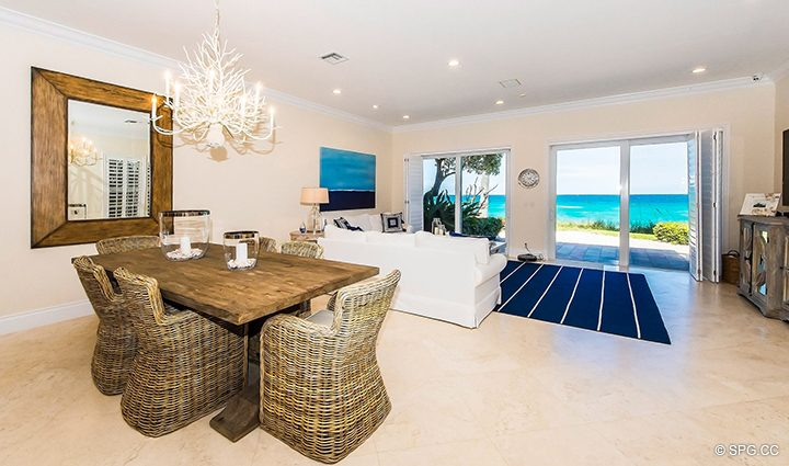 Living and Dining Room in Residence 3A at 1153 Hillsboro Mile, a Luxury Oceanfront Townhome For Rent in Hillsboro Beach, Florida 33062