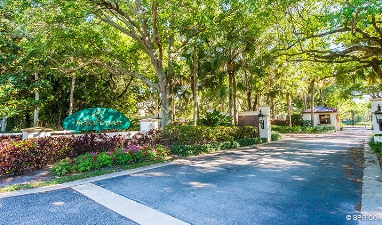 Entrance into Foxe Chase Community and Luxury Estate Home, 16260 Bridlewood Circle, Delray Beach, Florida 33445
