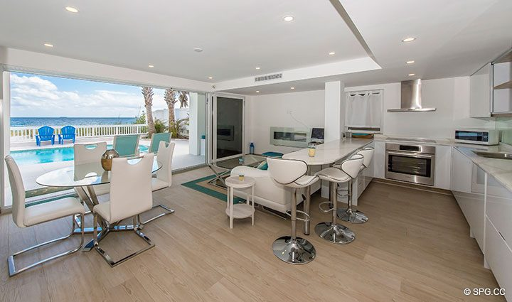 Beachfront Living Room in Luxury Oceanfront Home, 2712 North Atlantic Boulevard, Fort Lauderdale, Florida 33308