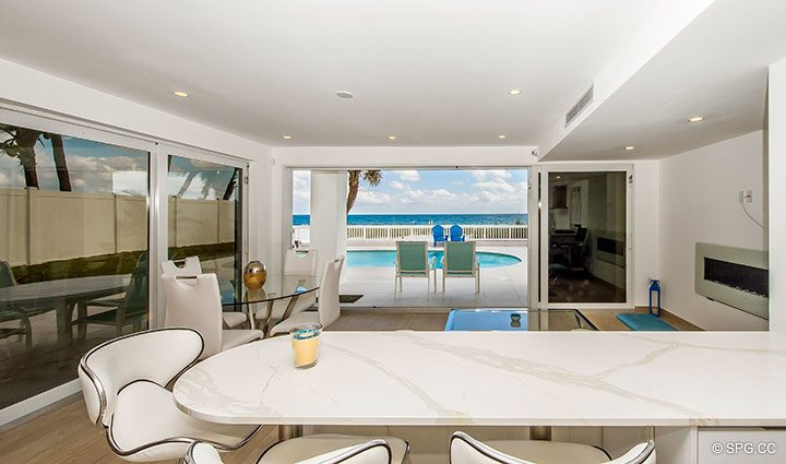 View from Kitchen in Luxury Oceanfront Home, 2712 North Atlantic Boulevard, Fort Lauderdale, Florida 33308