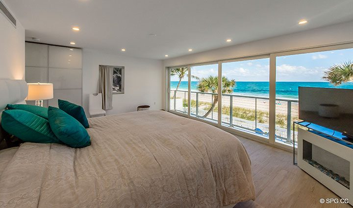 Oceanfront Master Bed in Luxury Oceanfront Home, 2712 North Atlantic Boulevard, Fort Lauderdale, Florida 33308