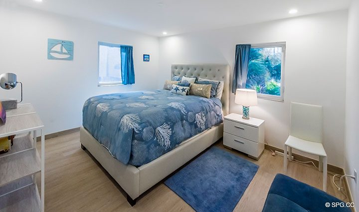 Guest Bed inside Luxury Oceanfront Home, 2712 North Atlantic Boulevard, Fort Lauderdale, Florida 33308