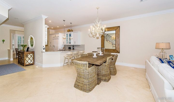 Dining Area inside Residence 3A at 1153 Hillsboro Mile, a Luxury Oceanfront Townhome For Rent in Hillsboro Beach, Florida 33062