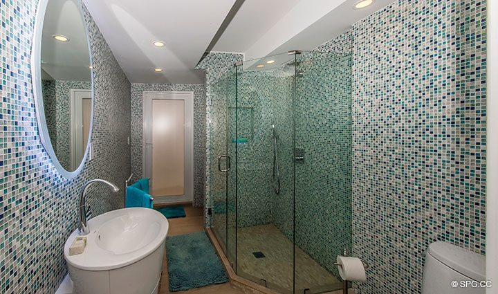 Guest Bath inside Luxury Oceanfront Home, 2712 North Atlantic Boulevard, Fort Lauderdale, Florida 33308