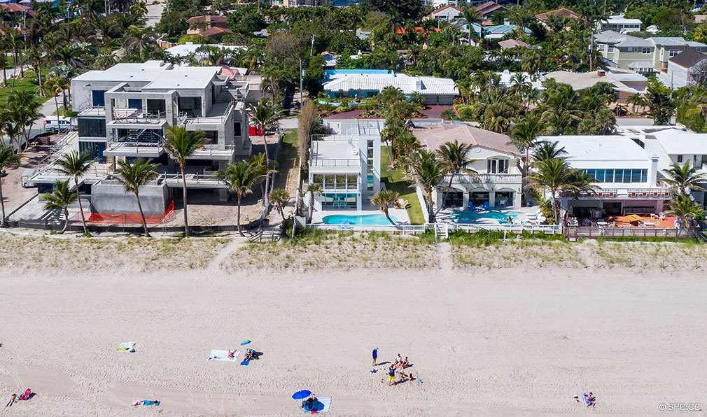 Beach Aerial View of Luxury Oceanfront Home, 2712 North Atlantic Boulevard, Fort Lauderdale, Florida 33308