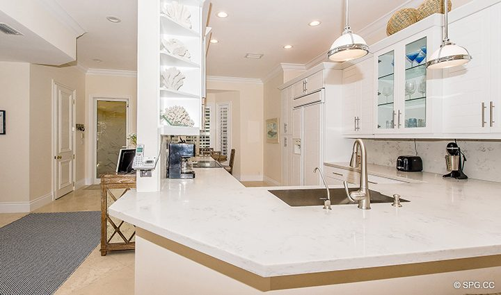 Newly Renovated Kitchen in Residence 3A at 1153 Hillsboro Mile, a Luxury Oceanfront Townhome For Rent in Hillsboro Beach, Florida 33062