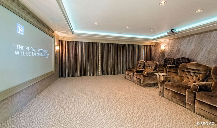 Private Movie Theatre in Estate Home 709 Idlewyld Drive, Fort Lauderdale, Florida 33301