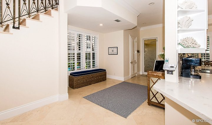 Entry Foyer Area in Residence 3A at 1153 Hillsboro Mile, a Luxury Oceanfront Townhome For Rent in Hillsboro Beach, Florida 33062