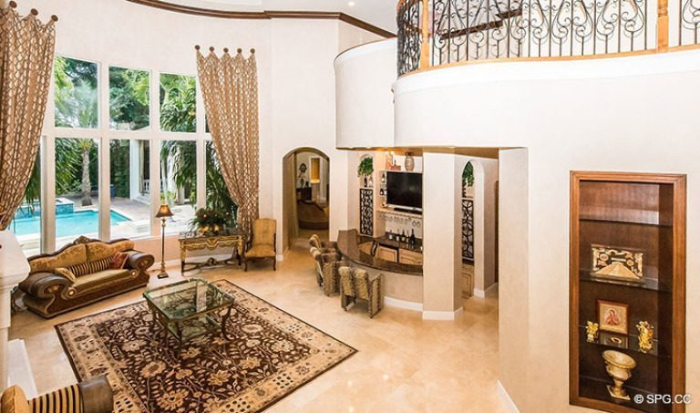View of Living Room from Stairs in Luxury Estate Home, 16260 Bridlewood Circle, Delray Beach, Florida 33445
