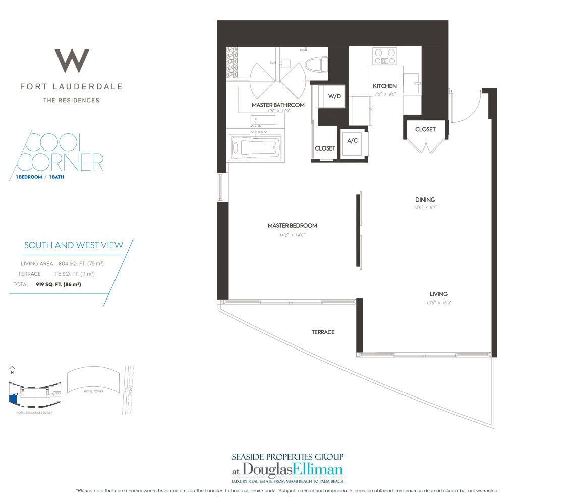 Cool Corner Floorplan at The W Fort Lauderdale, Luxury Oceanfront Condos in Fort Lauderdale, 33304