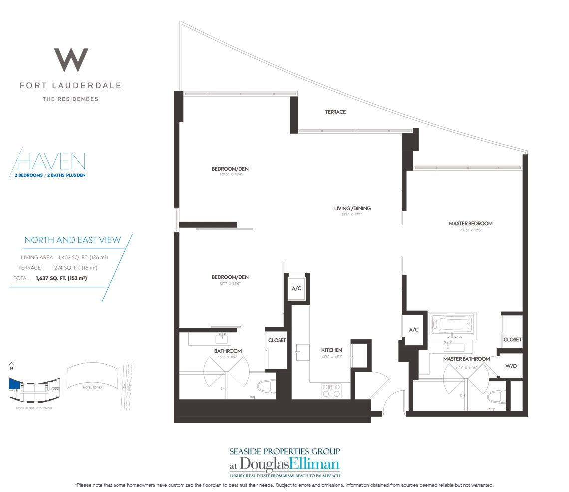 Haven Floorplan at The W Fort Lauderdale, Luxury Oceanfront Condos in Fort Lauderdale, 33304