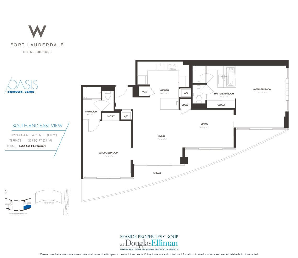 Oasis Floorplan at The W Fort Lauderdale, Luxury Oceanfront Condos in Fort Lauderdale, 33304
