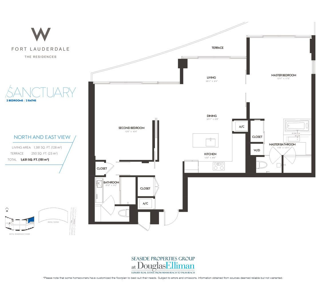 Sanctuary Floorplan at The W Fort Lauderdale, Luxury Oceanfront Condos in Fort Lauderdale, 33304