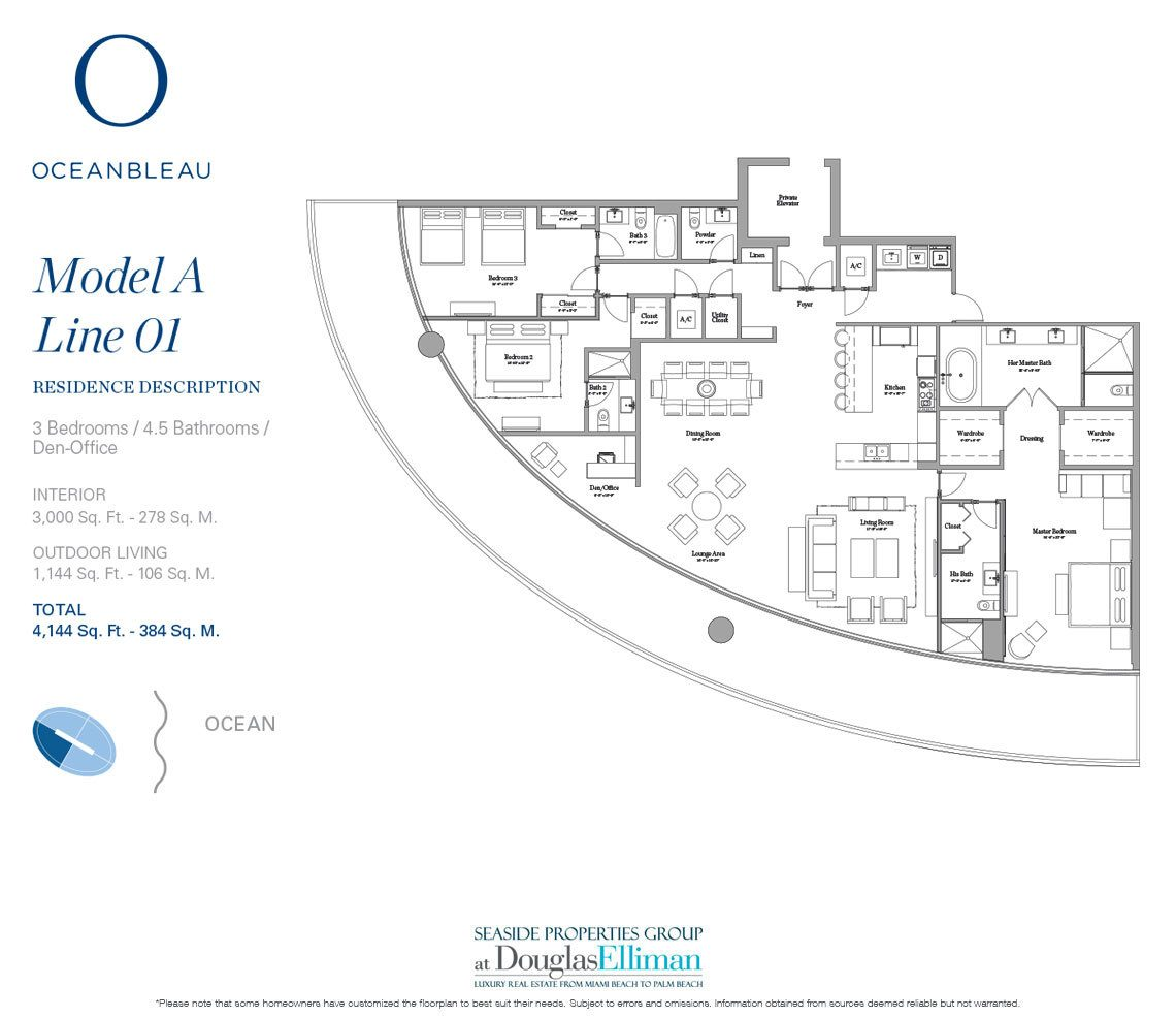 The Model A Line 1 Floorplan at Oceanbleau, Luxury Waterfront Condos in Hollywood Beach, Florida 33019