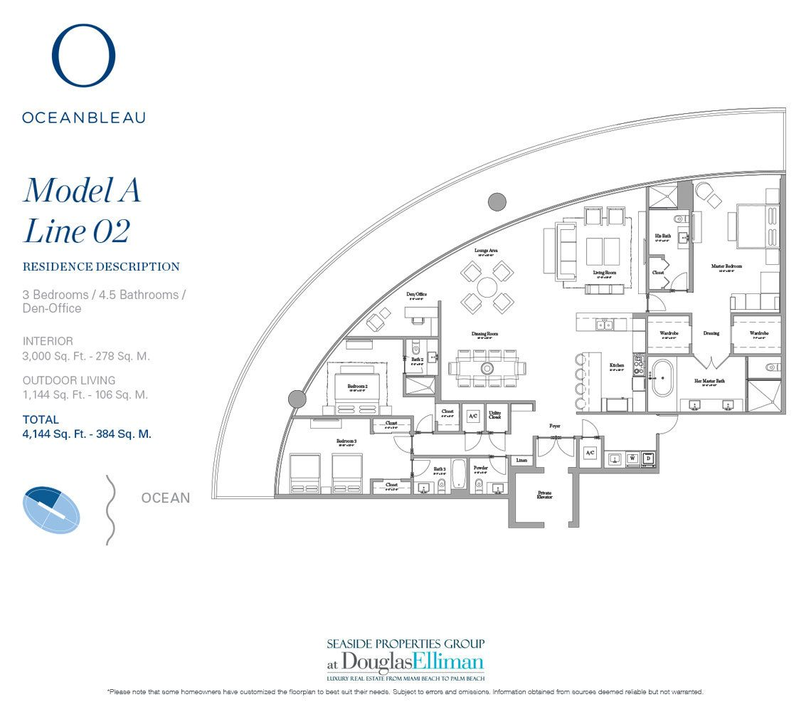 The Model A Line 2 Floorplan at Oceanbleau, Luxury Waterfront Condos in Hollywood Beach, Florida 33019