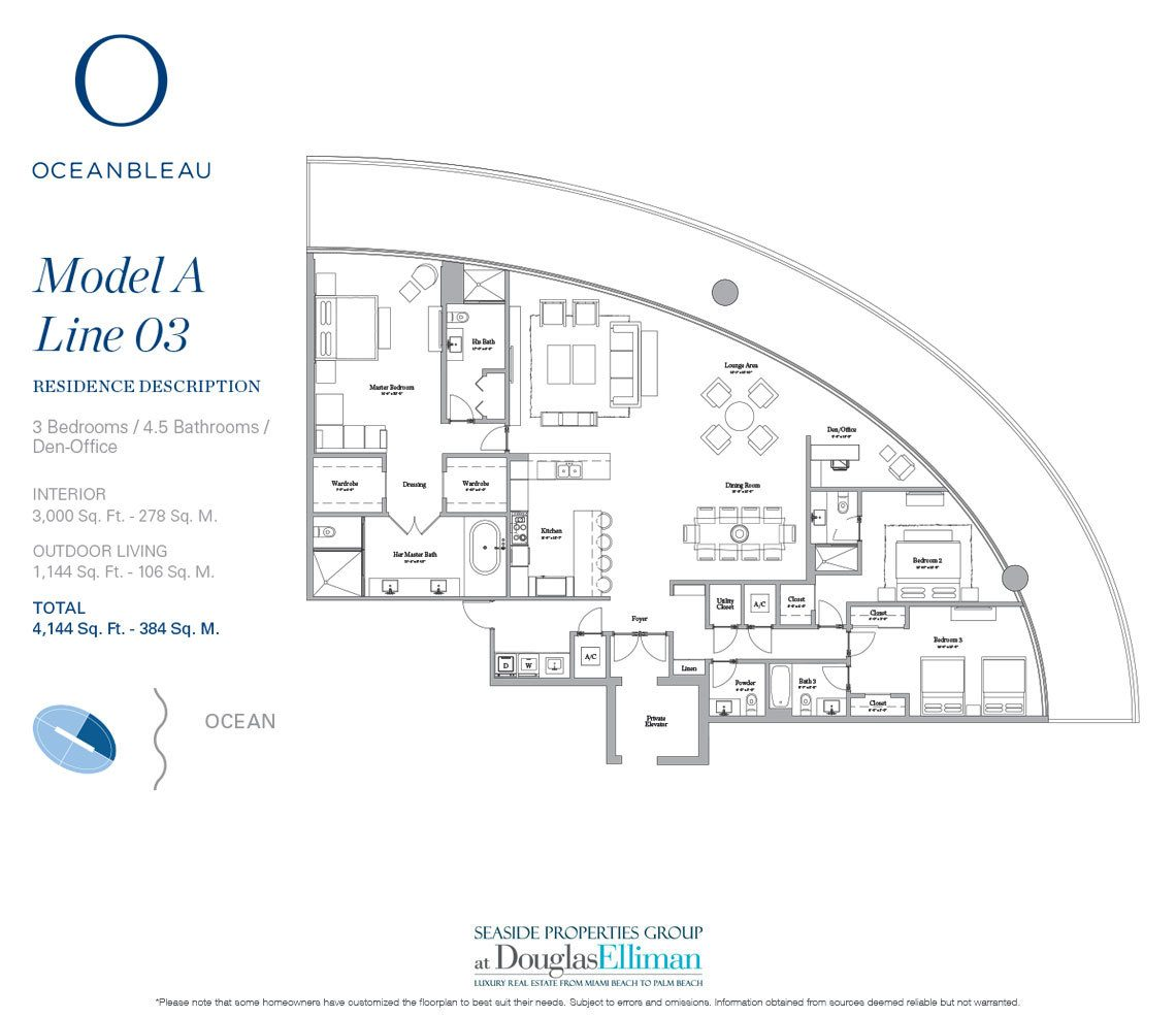 The Model A Line 3 Floorplan at Oceanbleau, Luxury Waterfront Condos in Hollywood Beach, Florida 33019