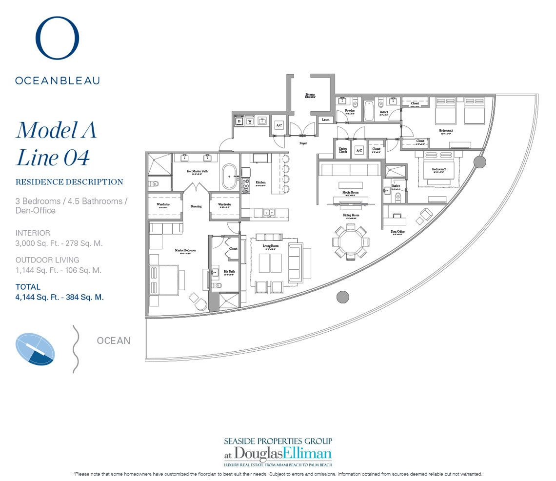 The Model A Line 4 Floorplan at Oceanbleau, Luxury Waterfront Condos in Hollywood Beach, Florida 33019