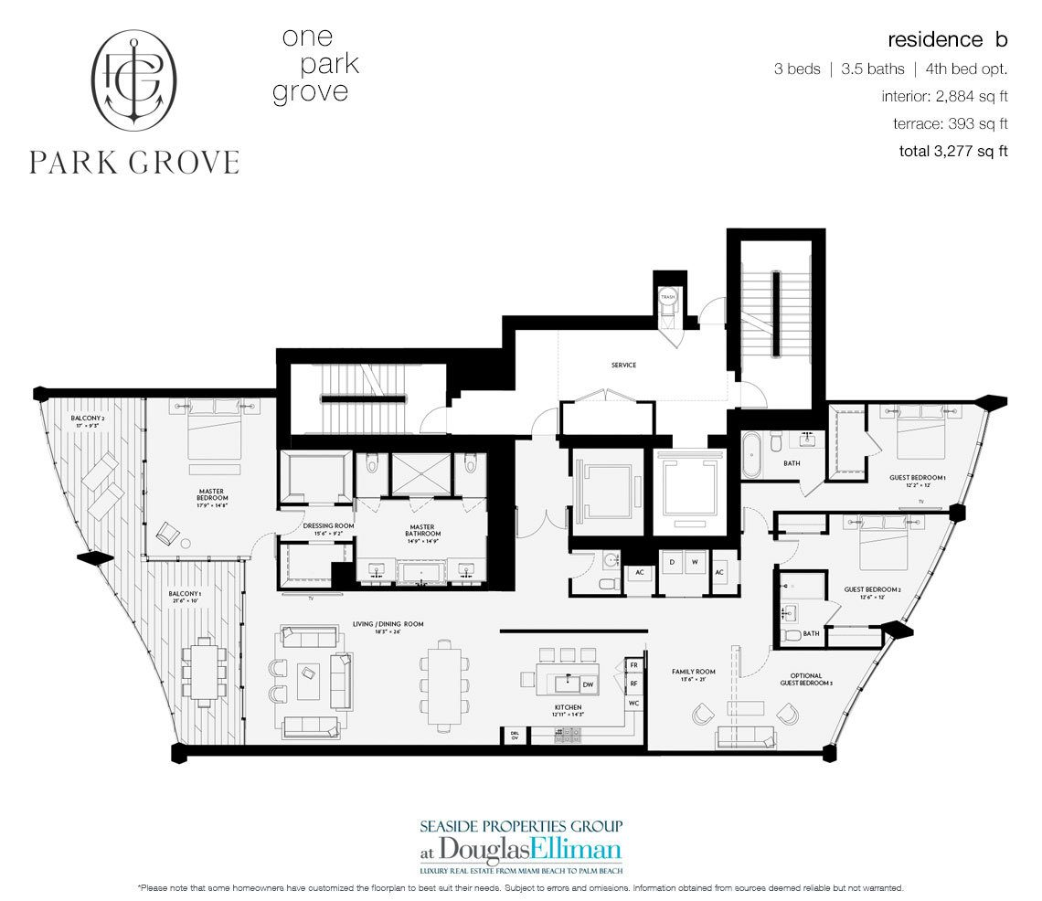 The Residence B, Tower One Floorplan at Park Grove, Luxury Waterfront Condos in Miami, Florida 33133