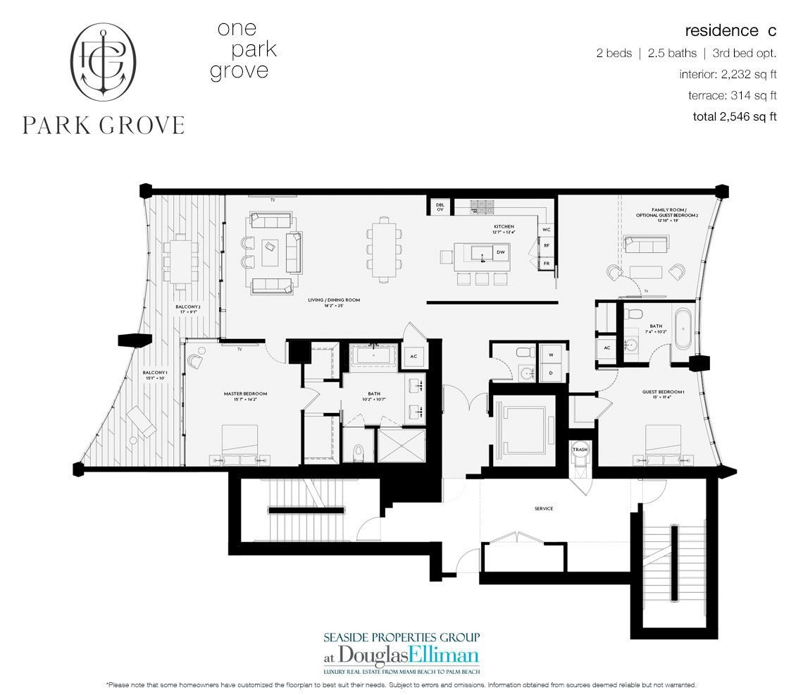 The Residence C, Tower One Floorplan at Park Grove, Luxury Waterfront Condos in Miami, Florida 33133