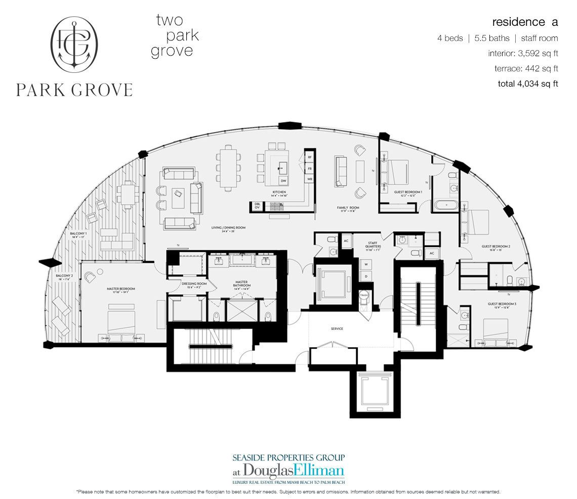 The Residence A, Tower Two Floorplan at Park Grove, Luxury Waterfront Condos in Miami, Florida 33133