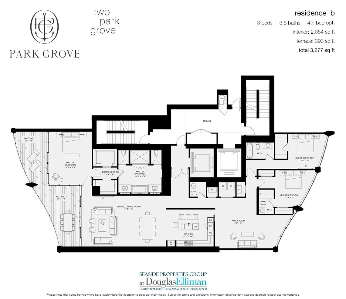 The Residence B, Tower Two Floorplan at Park Grove, Luxury Waterfront Condos in Miami, Florida 33133
