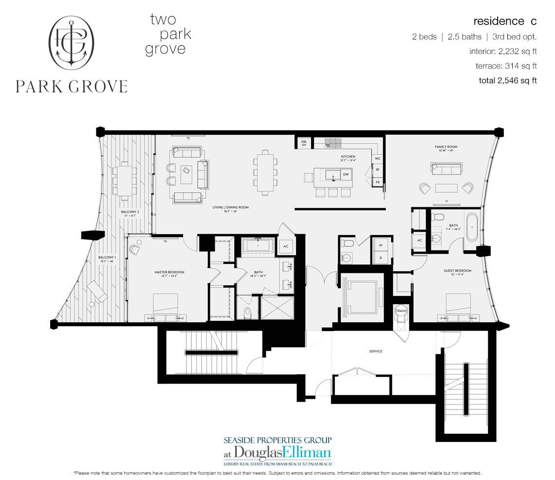 The Residence C, Tower Two Floorplan at Park Grove, Luxury Waterfront Condos in Miami, Florida 33133