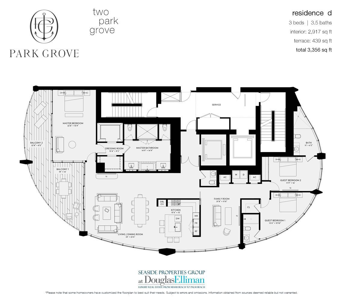 The Residence D, Tower Two Floorplan at Park Grove, Luxury Waterfront Condos in Miami, Florida 33133