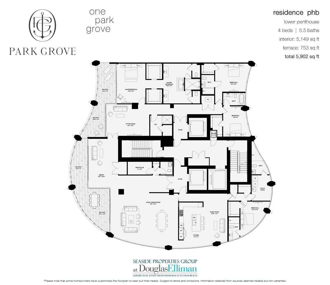The Lower Penthouse B, Tower One Floorplan at Park Grove, Luxury Waterfront Condos in Miami, Florida 33133