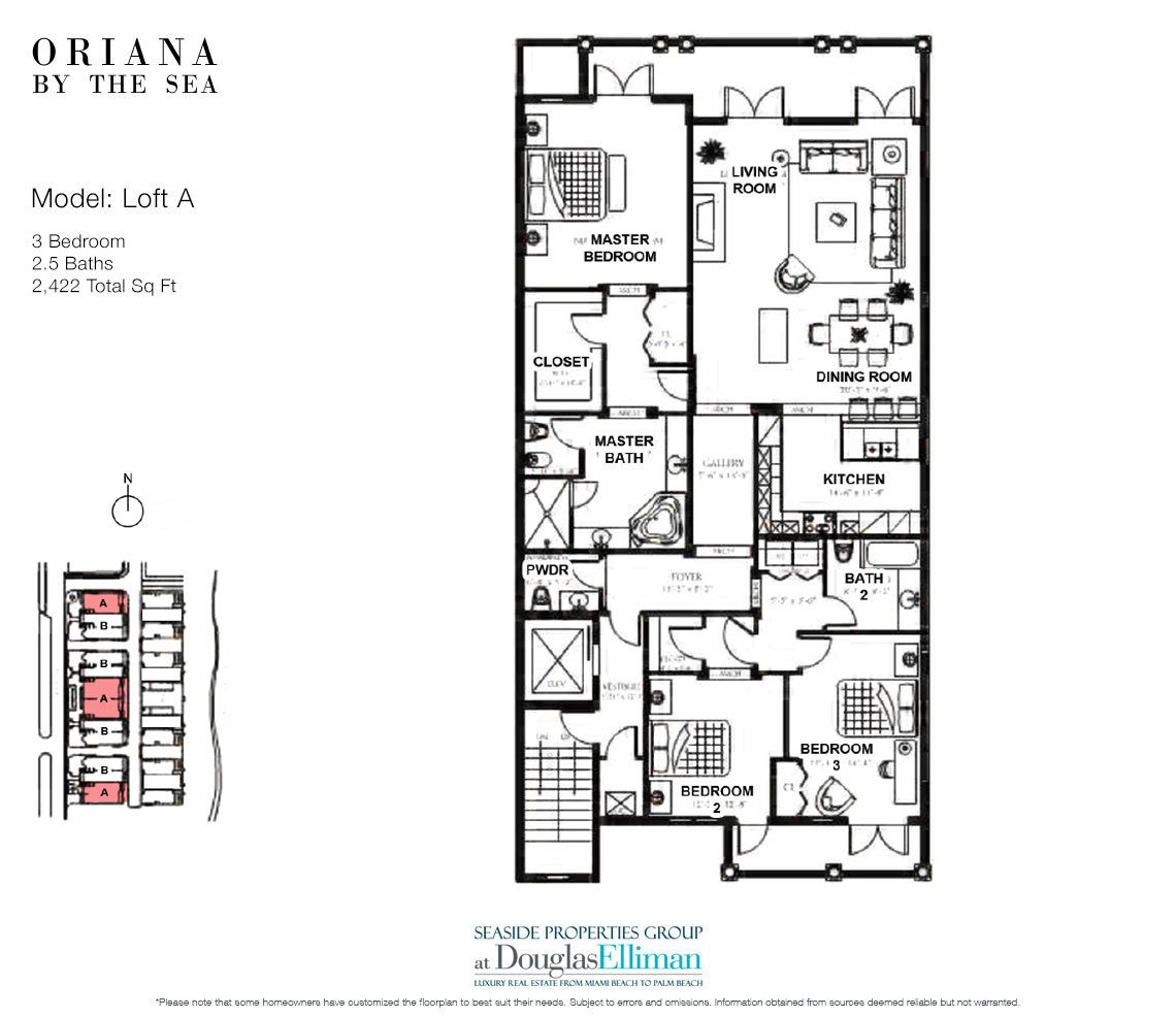 The Loft A Floorplan at Oriana by the Sea, Luxury Oceanfront Condos in Lauderdale-by-the-Sea, Florida 33308