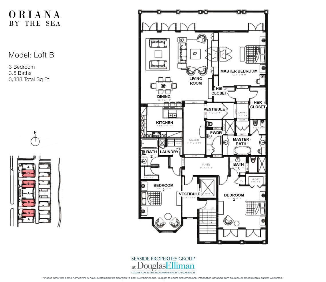 The Loft B Floorplan at Oriana by the Sea, Luxury Oceanfront Condos in Lauderdale-by-the-Sea, Florida 33308